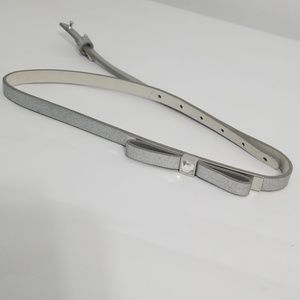 White House Black Market Accessories - Silver bow leather belt